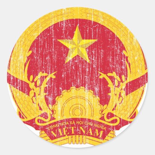Vietnam Coat Of Arms Classic Round Sticker