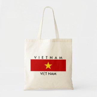 vietnam country flag name text symbol budget tote bag