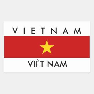 vietnam country flag name text symbol rectangular sticker