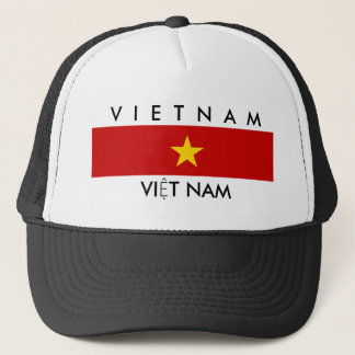 vietnam country flag name text symbol trucker hat