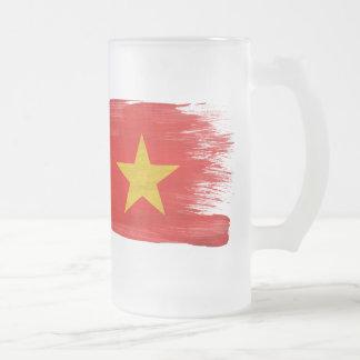 Vietnam Flag Frosted Glass Mug