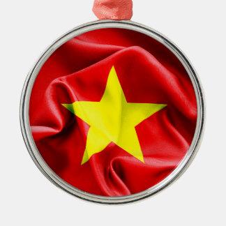 Vietnam Flag Round Metal Christmas Ornament