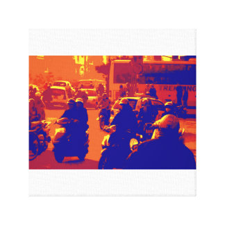 Vietnam Hanoi traffic, sunset colours Stretched Canvas Prints