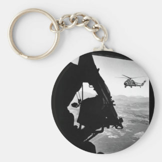 Vietnam:  helicopter and soldier approaching targe basic round button key ring