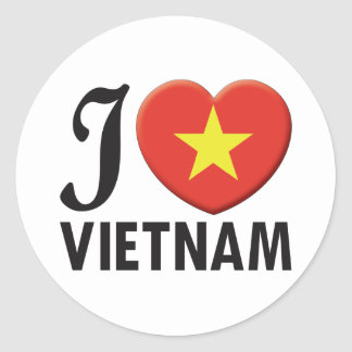 Vietnam Love Classic Round Sticker