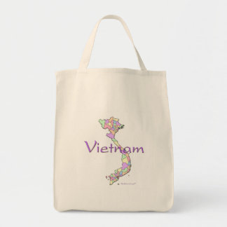 Vietnam Map Grocery Tote Bag