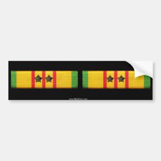 Vietnam Service Ribbon - 2 Stars - Small Duo Bumper Sticker