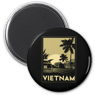 vietnam southeast asia art deco retro travel 6 cm round magnet