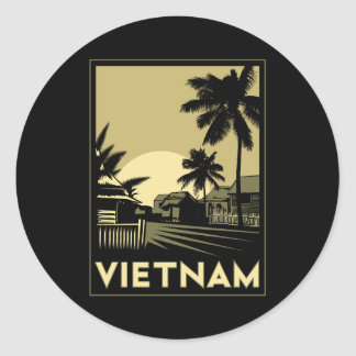vietnam southeast asia art deco retro travel classic round sticker