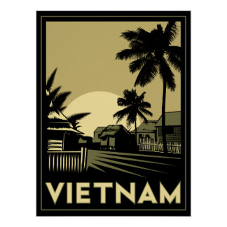 vietnam southeast asia art deco retro travel poster