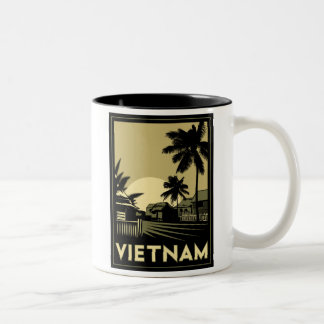 vietnam southeast asia art deco retro travel Two-Tone coffee mug