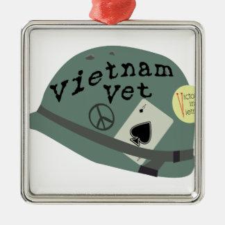 Vietnam Vet Silver-Colored Square Decoration