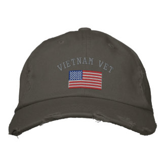 Vietnam Vet with American Flag Embroidered Cap