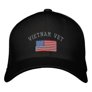 Vietnam Vet with American Flag Military Embroidered Hat