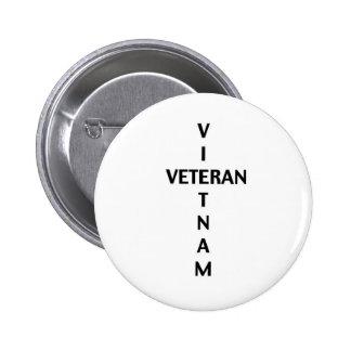 Vietnam Veteran Cross (Button) 6 Cm Round Badge