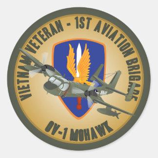 Vietnam Veteran Mohawk Round Sticker