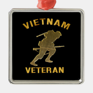 VIETNAM VETERAN SOLDIER IN GOLD SQUARE METAL CHRISTMAS ORNAMENT