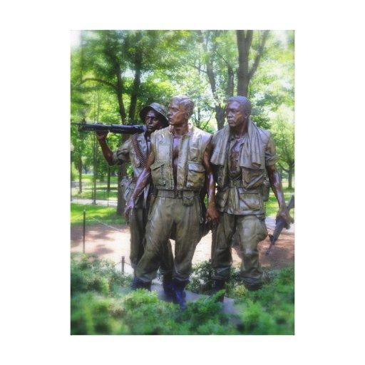 Vietnam Veterans Memorial Soldiers Stretched Canvas Print