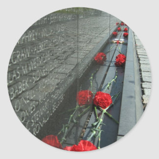 Vietnam veterans Memorial Wall Classic Round Sticker