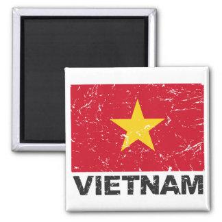 Vietnam Vintage Flag Square Magnet