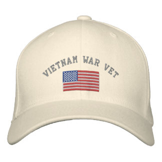 Vietnam War Vet with American Flag Embroidered Hat