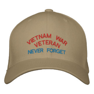 VIETNAM WAR VETERAN, NEVER FORGET EMBROIDERED BASEBALL CAP