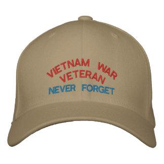 VIETNAM WAR VETERAN NEVER FORGET EMBROIDERED HAT