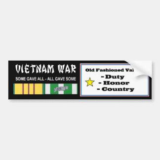 VIETNAM WAR VETERAN OLD FASHIONED VALUES BUMPER STICKER