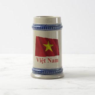 Vietnam Waving Flag with Name in Vietnamese Beer Stein