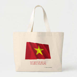 Vietnam Waving Flag with Name Canvas Bags