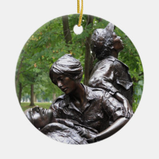 Vietnam Womens Memorial Double-Sided Ceramic Round Christmas Ornament