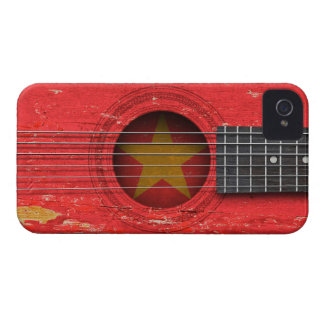 Vietnamese Flag on Old Acoustic Guitar iPhone 4 Cover