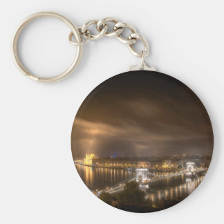 View across Budapest from Buda Castle Basic Round Button Key Ring