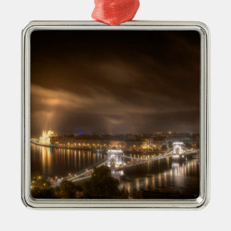 View across Budapest from Buda Castle Silver-Colored Square Decoration