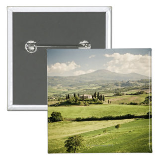View across Tuscan landscape to farmhouse and 2 15 Cm Square Badge