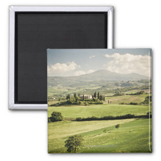 View across Tuscan landscape to farmhouse and 2 Magnet