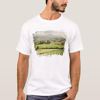 View across Tuscan landscape to farmhouse and 2 T-Shirt