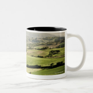 View across Tuscan landscape to farmhouse and 2 Two-Tone Coffee Mug