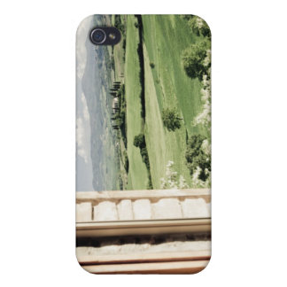 View across Tuscan landscape to farmhouse and Case For The iPhone 4