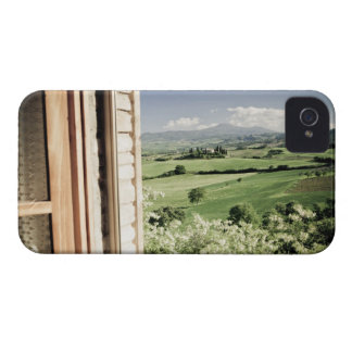 View across Tuscan landscape to farmhouse and iPhone 4 Case-Mate Case