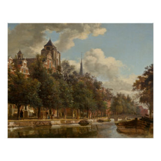 View Down a Dutch Canal by Jan van der Heyden Poster