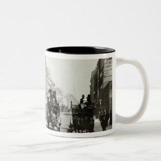 View down Oxford Street, London (b/w photo) Two-Tone Coffee Mug