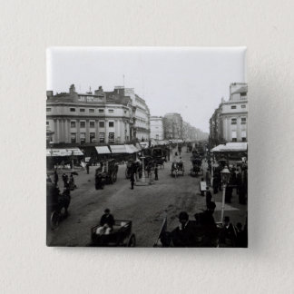 View down Oxford Street, London, c.1890 15 Cm Square Badge