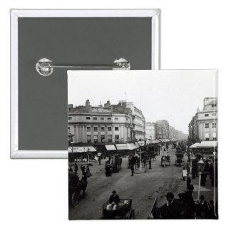 View down Oxford Street, London, c.1890 15 Cm Square Badge