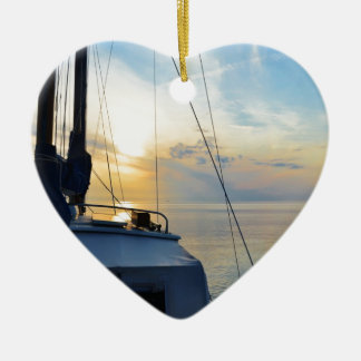 View from a ketch ceramic heart decoration