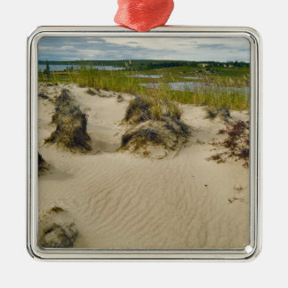 View from a sandy hilltop of lakes and hills on christmas ornament