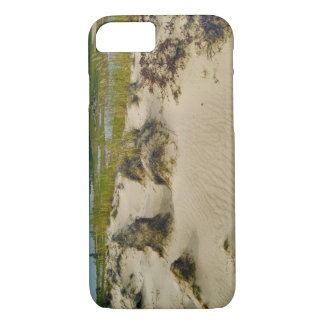 View from a sandy hilltop of lakes and hills on iPhone 8/7 case
