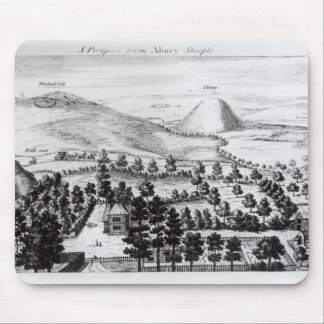 View from Avebury steeple of Silbury Hill Mouse Mat