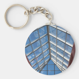 View from below the transparent roof of the glass basic round button key ring