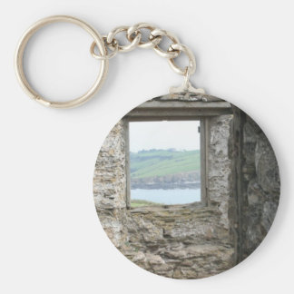 View from Burgh Island towards Devon coast Basic Round Button Key Ring